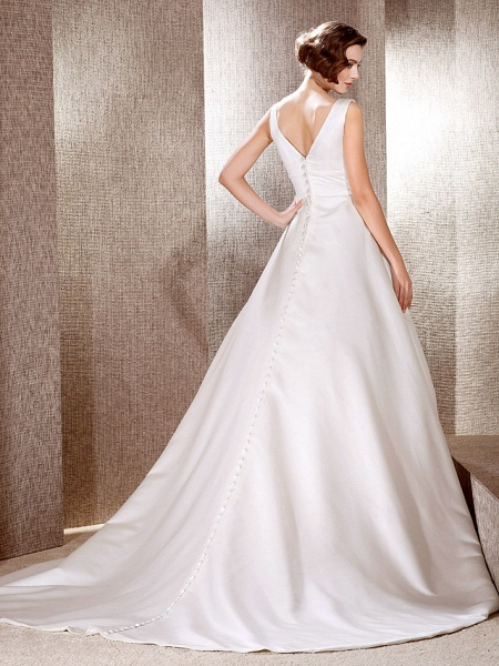 Princess A-Line Wedding Dresses V Neck Cathedral Train Satin Sleeveless_4