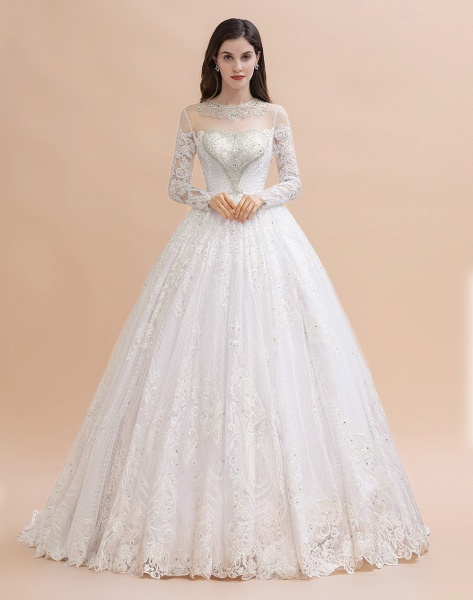 Long Sleeve Lace Crystal Beads Sheer Tulle Wedding Dress_3