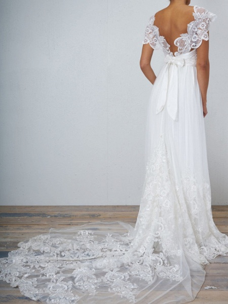 A-Line Wedding Dresses V Neck Chapel Train Lace Tulle Sleeveless Sexy Wedding Dress in Color See-Through_2