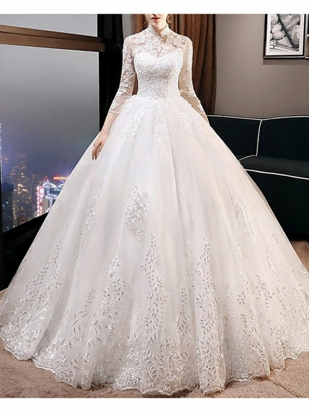 A-Line Wedding Dresses High Neck Court Train Lace 3\4 Length Sleeve Glamorous Illusion Sleeve_1