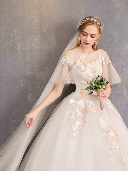 Ball Gown Wedding Dresses Bateau Neck Maxi Lace Tulle Short Sleeve Glamorous See-Through Backless_11