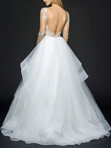 Ball Gown Wedding Dresses V Neck Floor Length Organza Long Sleeve Illusion Sleeve_2
