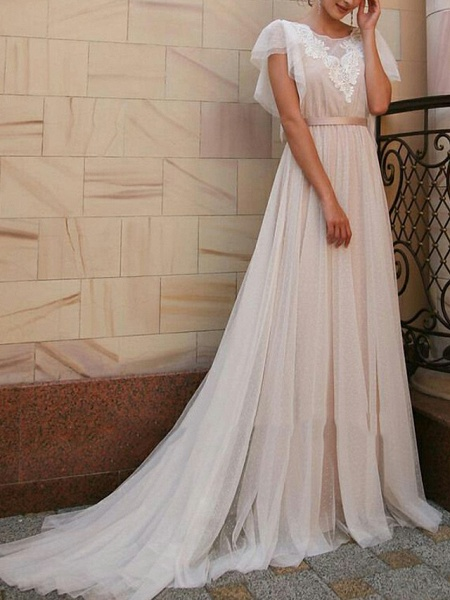 A-Line Wedding Dresses Jewel Neck Sweep \ Brush Train Tulle Short Sleeve Beach Boho Illusion Detail Backless_1
