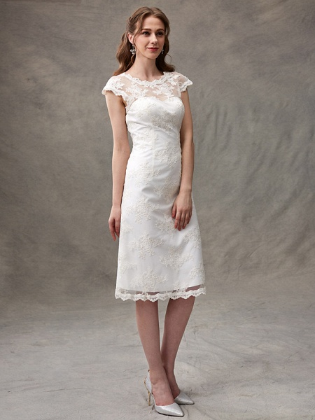 A-Line Wedding Dresses Jewel Neck Knee Length Floral Lace Cap Sleeve Casual See-Through Backless_7