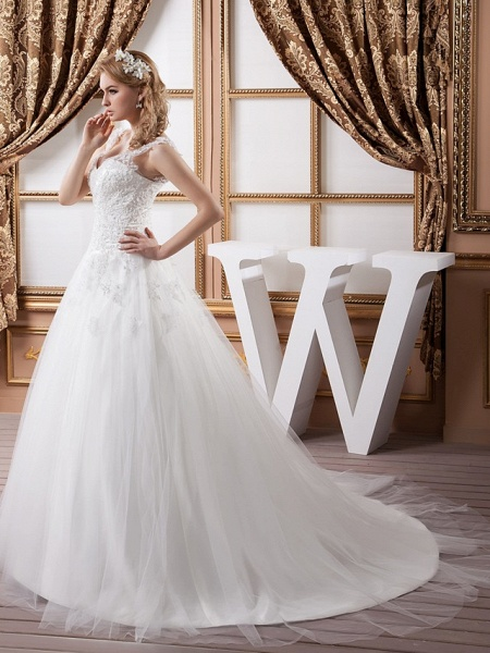 A-Line V Neck Court Train Lace Satin Tulle Spaghetti Strap Wedding Dresses_3