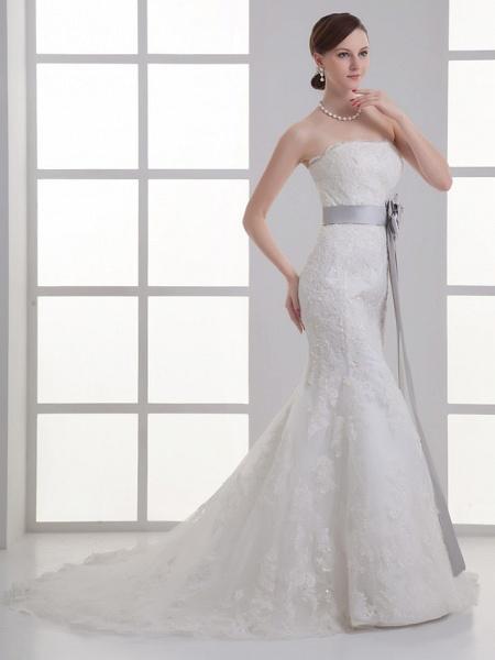 Mermaid \ Trumpet Strapless Chapel Train Lace Satin Strapless Wedding Dresses_3