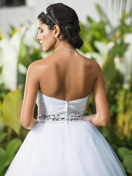 Ball Gown Wedding Dresses Sweetheart Neckline Floor Length Tulle Sleeveless Open Back_6
