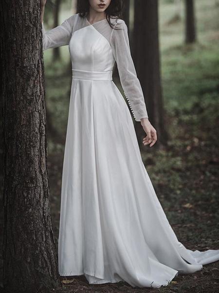 A-Line Wedding Dresses V Neck Court Train Chiffon Satin Long Sleeve Simple Elegant_2