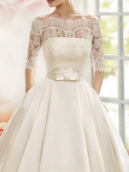 A-Line Wedding Dresses V Neck Court Train Tulle Half Sleeve Glamorous See-Through Illusion Sleeve_3