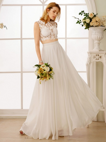 Princess Two Piece Wedding Dresses Jewel Neck Floor Length Chiffon Sleeveless See-Through Beautiful Back Crop Top_4