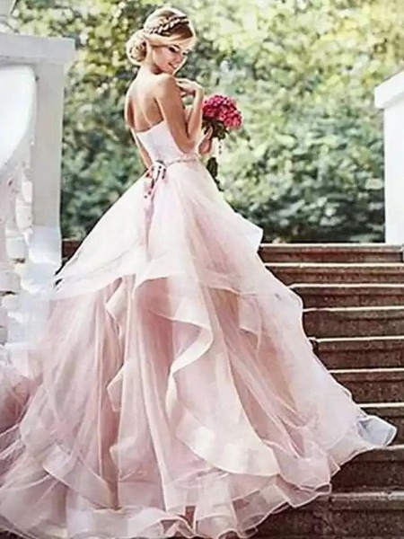 Ball Gown Wedding Dresses Strapless Court Train Lace Tulle Strapless Sexy Wedding Dress in Color Plus Size_3