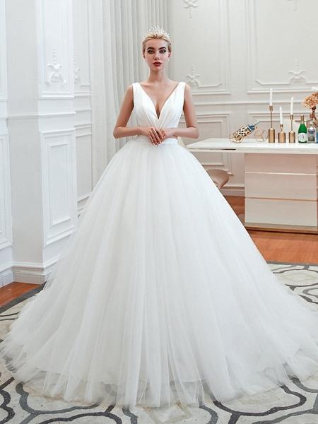 A-Line Wedding Dresses V Neck Court Train Tulle Spaghetti Strap Formal Romantic Casual_2