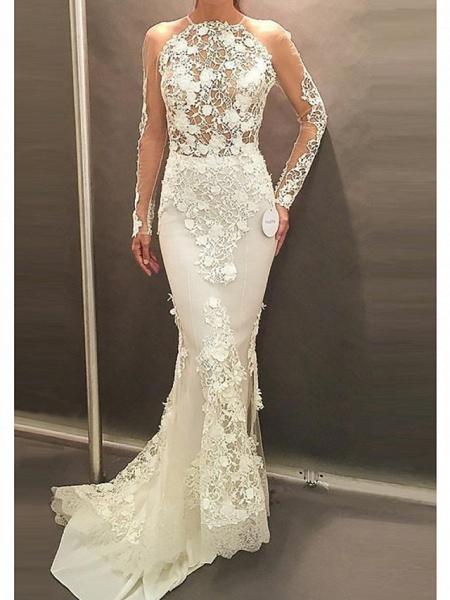 Affordable Mermaid Plus Size Long Sleeve Wedding Dresses_1