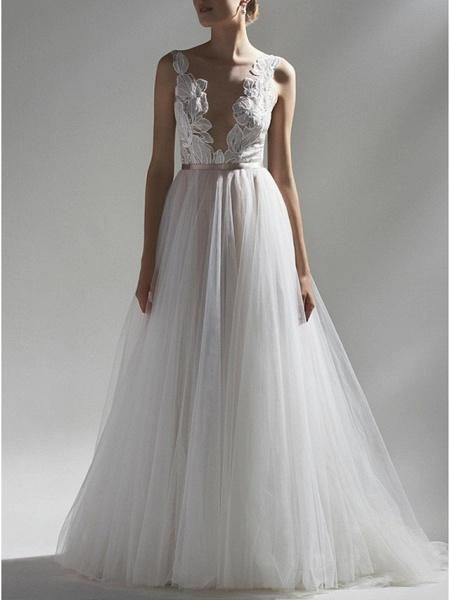 A-Line Wedding Dresses V Neck Sweep \ Brush Train Lace Tulle Regular Straps Romantic Boho Plus Size_1