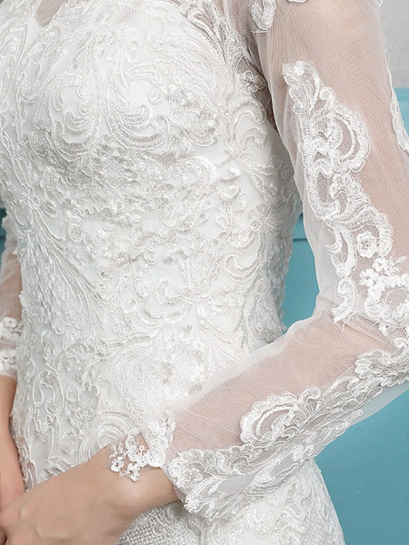 Mermaid \ Trumpet Wedding Dresses Jewel Neck Court Train Lace Tulle Polyester Long Sleeve Sexy Illusion Sleeve_5
