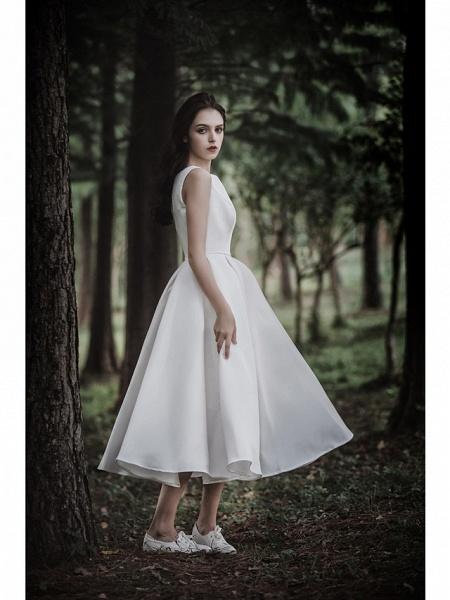 A-Line Wedding Dresses Jewel Neck Tea Length Chiffon Over Satin Cap Sleeve Simple Casual Little White Dress_6