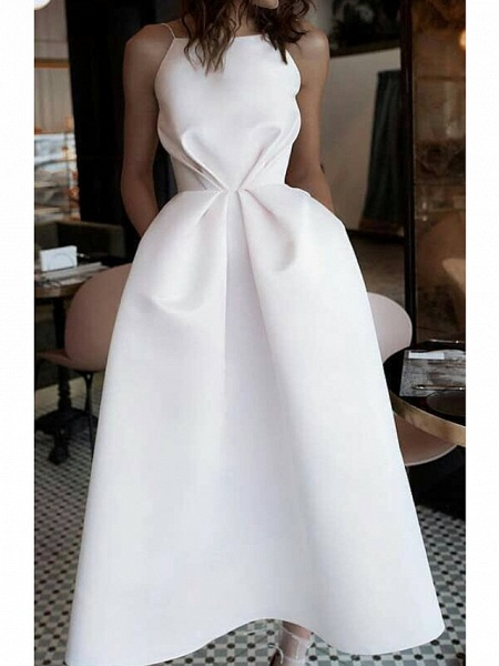 Ball Gown Wedding Dresses Jewel Neck Ankle Length Satin Spaghetti Strap Formal Plus Size_1