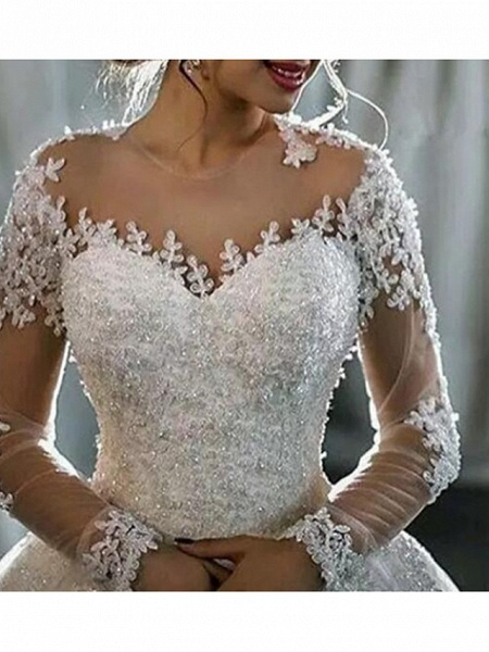 A-Line Wedding Dresses Jewel Neck Sweep \ Brush Train Lace Tulle Long Sleeve Formal Casual Plus Size Illusion Sleeve_3