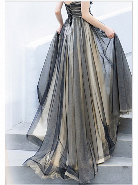 A-Line Wedding Dresses Strapless Sweep \ Brush Train Tulle Strapless Formal Black_5