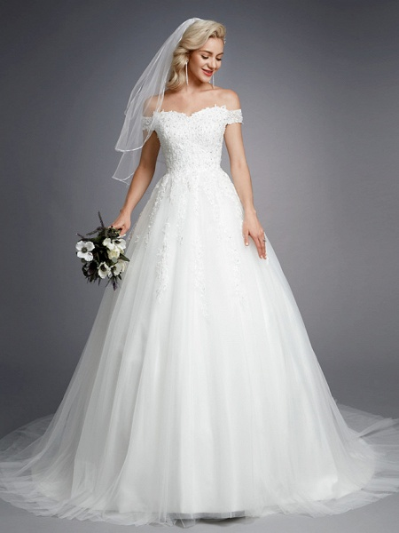 Ball Gown Wedding Dresses Off Shoulder Court Train Lace Tulle Short Sleeve Romantic Sparkle & Shine_1