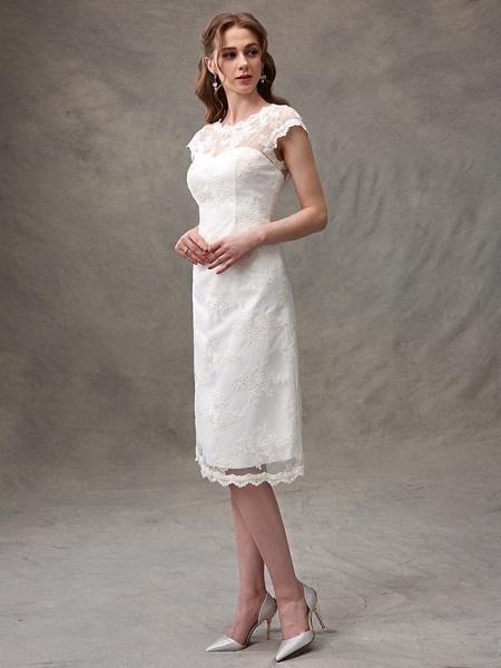 A-Line Wedding Dresses Jewel Neck Knee Length Floral Lace Cap Sleeve Casual See-Through Backless_6