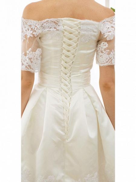 A-Line Wedding Dresses Off Shoulder Short \ Mini Satin Half Sleeve Formal Casual Illusion Detail_9