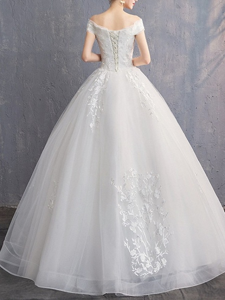A-Line Wedding Dresses Off Shoulder Floor Length Tulle Cap Sleeve_3