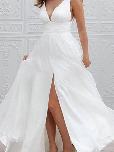 A-Line Wedding Dresses Plunging Neck Sweep \ Brush Train Chiffon Taffeta Stretch Satin Sleeveless Country Plus Size_3
