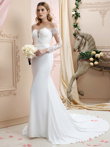 Mermaid \ Trumpet Wedding Dresses Bateau Neck Court Train Chiffon Corded Lace Long Sleeve Romantic Sexy See-Through Backless Illusion Sleeve_3