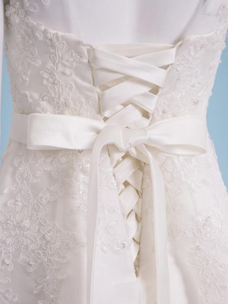 A-Line Wedding Dresses Bateau Neck Tea Length Organza Cap Sleeve Simple Casual Illusion Detail_6