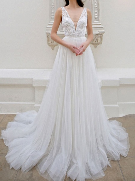 A-Line Wedding Dresses V Neck Court Train Tulle Sleeveless Vintage Sexy Wedding Dress in Color_2