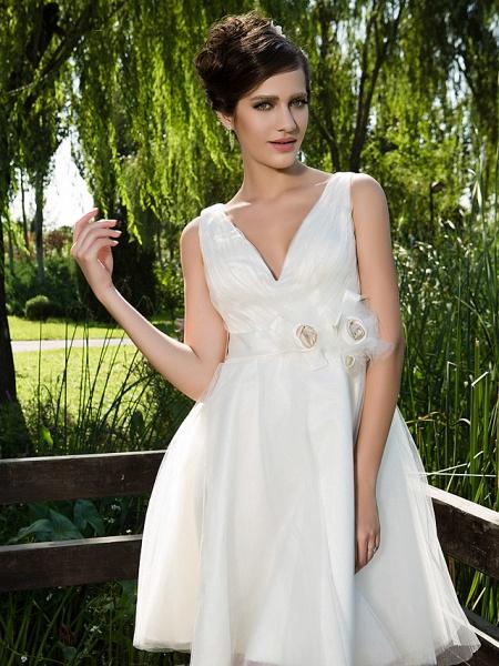 Ball Gown Wedding Dresses V Neck Knee Length Tulle Sleeveless See-Through_5