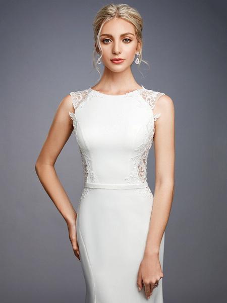 Mermaid \ Trumpet Wedding Dresses Bateau Neck Court Train Chiffon Lace Regular Straps Sexy Illusion Detail Backless_9