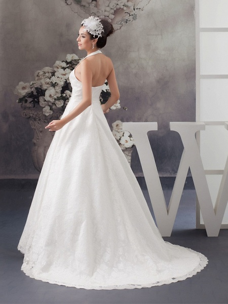 A-Line Halter Neck Court Train Lace Satin Spaghetti Strap Wedding Dresses_3