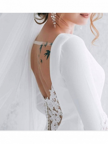 A-Line Wedding Dresses Jewel Neck Court Train Polyester Long Sleeve Formal Plus Size_2