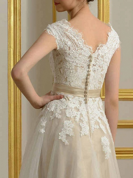 A-Line Wedding Dresses Jewel Neck Ankle Length Lace Tulle Cap Sleeve Vintage 1950s_5