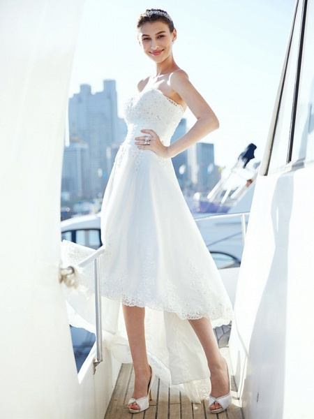 A-Line Wedding Dresses Strapless Asymmetrical Tulle Strapless Casual Beach Little White Dress Backless_7