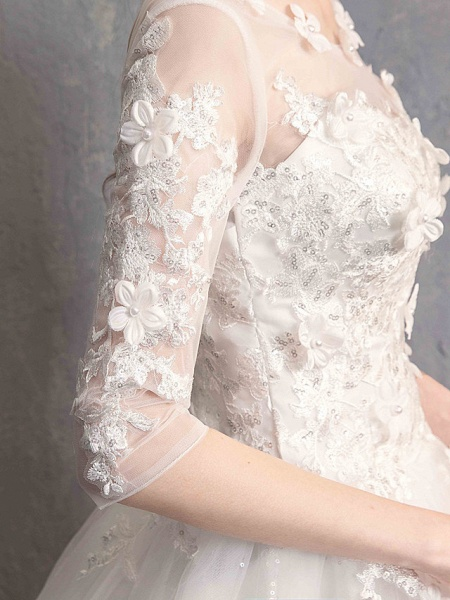 Ball Gown Wedding Dresses Scoop Neck Floor Length Lace Tulle Lace Over Satin Half Sleeve Country Vintage Illusion Sleeve_3