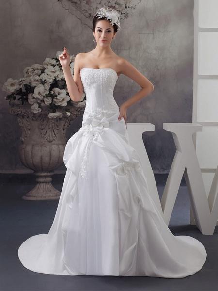 A-Line Strapless Court Train Satin Strapless Wedding Dresses_1