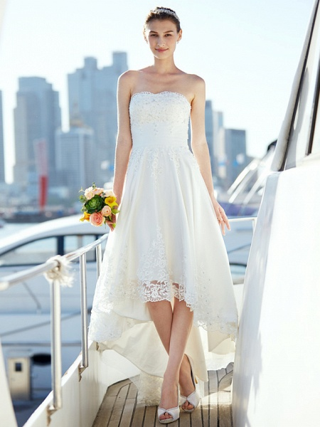 A-Line Wedding Dresses Strapless Asymmetrical Tulle Strapless Casual Beach Little White Dress Backless_3