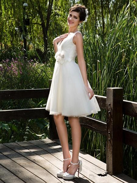 Ball Gown Wedding Dresses V Neck Knee Length Tulle Sleeveless See-Through_4