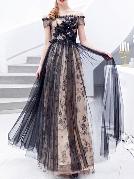 A-Line Wedding Dresses Off Shoulder Floor Length Lace Tulle Regular Straps Formal Black_3