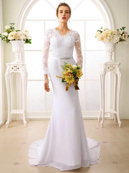 Mermaid \ Trumpet Wedding Dresses V Neck Court Train Chiffon Floral Lace Long Sleeve Sexy See-Through Backless Illusion Sleeve_2