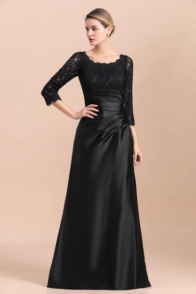 Elegant 3/4 Sleeves Black Satin Lace Ruffles Mother of Bride Dress_5