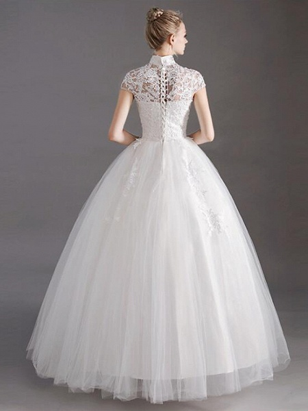 Ball Gown Wedding Dresses High Neck Floor Length Lace Tulle Polyester Short Sleeve Glamorous See-Through Illusion Detail_5