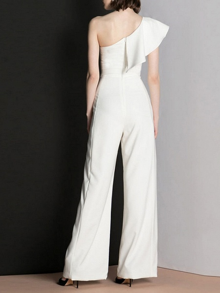 Jumpsuits Wedding Dresses One Shoulder Floor Length Polyester Cap Sleeve Romantic Modern_3