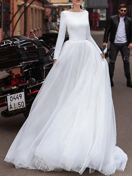 A-Line Wedding Dresses Jewel Neck Sweep \ Brush Train Satin Tulle Long Sleeve Simple_1