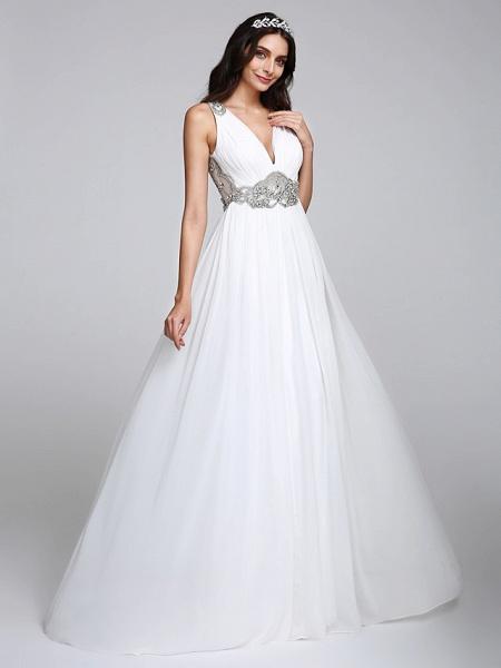 A-Line Wedding Dresses V Neck Sweep \ Brush Train Chiffon Regular Straps Country Romantic Glamorous Sparkle & Shine Plus Size Backless_6