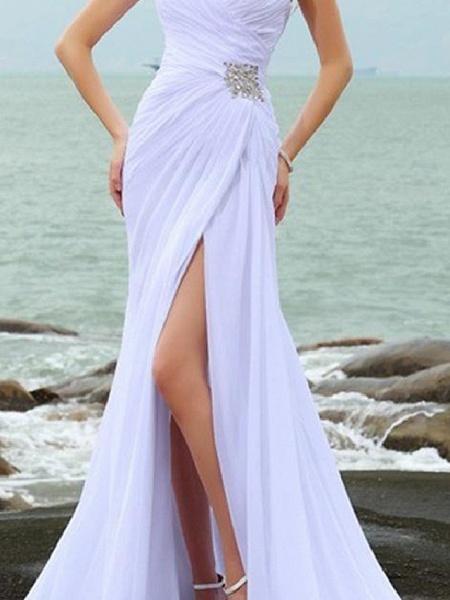 Mermaid \ Trumpet Wedding Dresses Sweetheart Neckline Court Train Chiffon Taffeta Cap Sleeve Country Plus Size_2