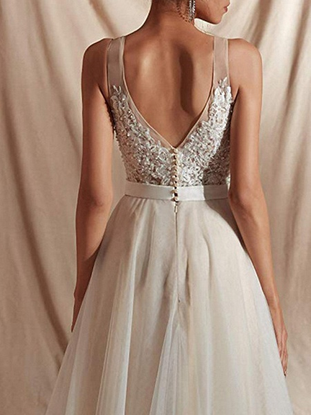 A-Line Wedding Dresses V Neck Sweep \ Brush Train Tulle Regular Straps_4